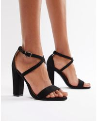 63d1486d70f Glamorous Barely There Mid Heeled Block Sandal In Black in Black - Lyst