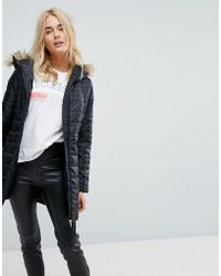Vero Moda - Padded Parka With Faux Fur Hood - Lyst