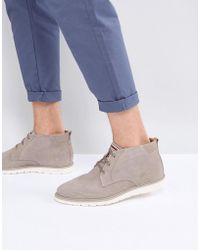 945b31e3a0536a Tommy Hilfiger - Joseph Perforated Suede Desert Boots In Stone - Lyst