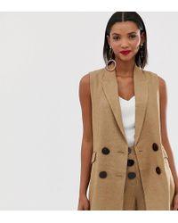 Mango - Button Front Herringbone Vest In Brown - Lyst