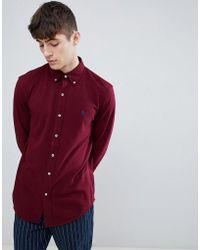 Polo Ralph Lauren - Slim Fit Pique Shirt Player Logo Button-down In Burgundy - Lyst