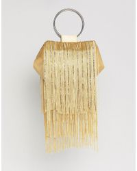 ASOS - Beaded Fringe Grab Handle Clutch Bag - Lyst