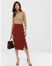 Warehouse - Midi Skirt With Button Detail In Rust - Lyst