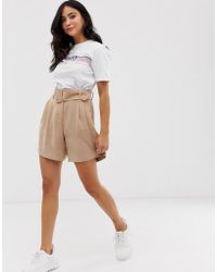 Pieces - Belted Soft Tailored Shorts - Lyst