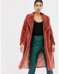 Club L Long Line Faux Fur Coat