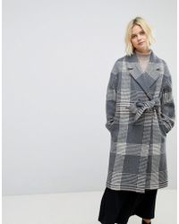 Whistles - Check Wrap Oversized Coat - Lyst
