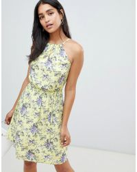 Oasis - High Neck Dress In Yellow Floral - Lyst