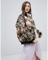Free People - Floral Jacquard Oversized Bomber Jacket - Lyst