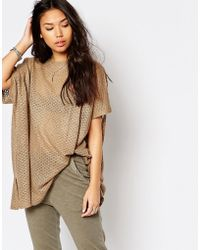 Stitch & Pieces - Oversized Knitted Longline T-shirt - Lyst