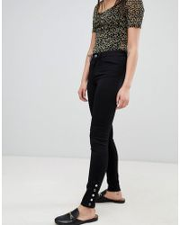 Pieces - Five Betty Mid Rise Skinny Jeans With Ankle Studs - Lyst