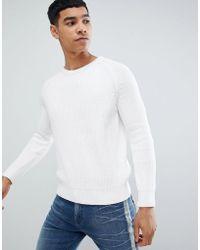 Bershka - Knitted Jumper In White - Lyst