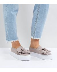 ASOS - Discovery Wide Fit Bow Flatform Plimsolls - Lyst