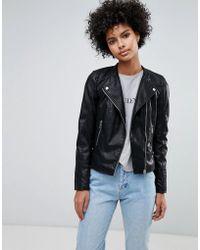 Vero Moda Faux Leather Biker Jacket - Black