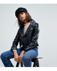 ASOS - Leather Jacket With Ring Pull Details - Lyst