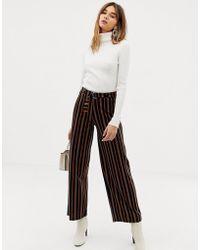 Pieces - High Waist Wide Leg Stripe Trouser - Lyst