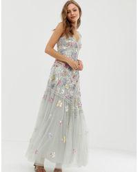 Needle & Thread - Vestito da sera con spalline sottili decorato pistacchio - Lyst