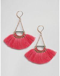 Pieces - Fringe Drop Earrings - Lyst
