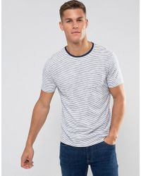 Mango - Man Striped T-shirt In Navy And White - Lyst