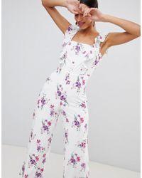 Fashion Union - Combinaison boutonnée sur le devant à motif floral style vintage - Lyst