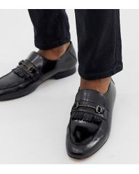 612b5cbeb52 H by Hudson - Wide Fit Chichister Bar Loafers In Black Leather - Lyst