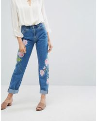 Warehouse - Embroidered Jeans - Lyst