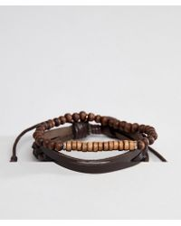 Icon Brand - Brown Leather & Beaded Bracelet In 2 Pack - Lyst