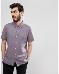 PS by Paul Smith - Linen Short Sleeve Shirt In Lilac - Lyst
