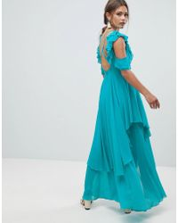 ASOS DESIGN - Ruffle Sleeve Dip Back Maxi Dress With Open Back - Lyst