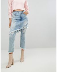 ARRIVE - Denim Skirt Over Jean With Fray Detail - Lyst
