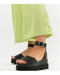 ASOS - Design Wide Fit Temple Leather Flatform Sandals - Lyst