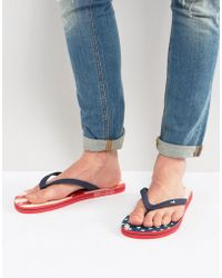 Hollister - Flip Flops Americana Print In Blue - Lyst