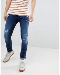 Blend - Cirrus Distressed Skinny Jeans Darkwash - Lyst