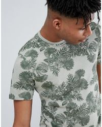 Only & Sons - T-shirt With All Over Leaf Print - Lyst