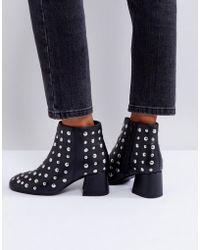 Park Lane - Studded Leather Mid Heel Boot - Lyst