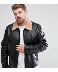 ASOS - Plus Faux Shearling Jacket In Black - Lyst