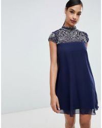 cbb32e9e80 Lipsy Sweetheart Pencil Dress With Lace Detail in Blue - Lyst