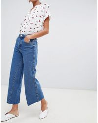 Warehouse - Wide Leg Jeans In Mid Wash - Lyst