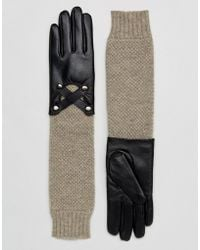 Barneys Originals - Barneys Long Line Leather Gloves With Knit Mix And Cross Over Detail - Lyst