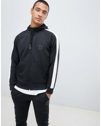 Hype - Hoodie In Black Poly With Side Stripe - Lyst