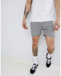 ASOS - Short court ajusté à carreaux - Noir et blanc - Lyst
