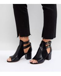 River Island - Wide Fit Buckle Detail Western Heeled Shoe Boots - Lyst
