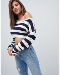 Missguided - Striped Off Shoulder Cropped Jumper - Lyst