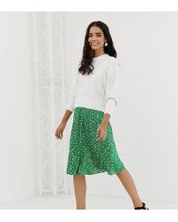 Monki - Falda midi verde y rosa de satn con estampado de lunares de - Lyst