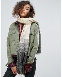Nali - Oversized Scarf With Grey Embroidery - Lyst