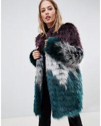 Urbancode - Faux Fur Coat In Tri Colour - Lyst