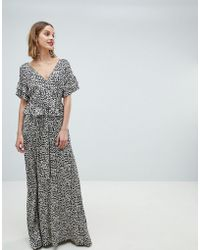 Lost Ink - Maxi Dress With Belted Waist In Leopard - Lyst