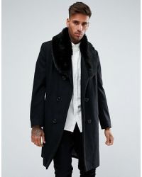 Boohoo - Double Breasted Wool Overcoat With Faux Fur Trim In Black - Lyst