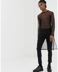 5bf72b5fb19cf ASOS - Relaxed Extreme Longline Long Sleeve T-shirt In Mesh With Split Hem -