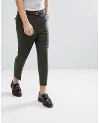 ASOS - Tapered Smart Trousers In Khaki Wool Mix - Lyst