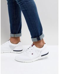Tommy Hilfiger - Tobias Flag Mesh Trainers In White - Lyst